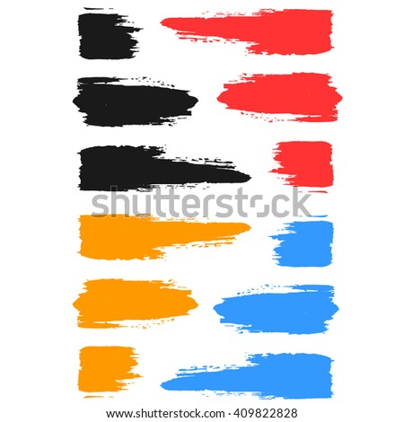 Set of colored brush strokes of paint.