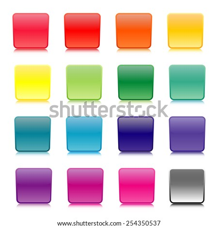 Set of colored buttons isolated on white background, vector illustration