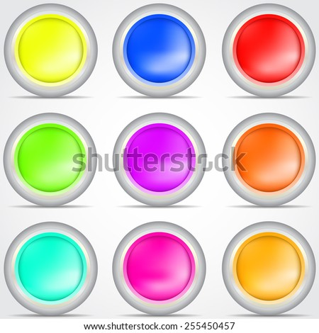 Set of colored buttons with shadow Vector illustration