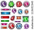 set of colored buttons with the image of the handset - stock vector