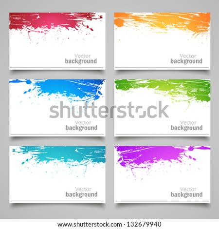 Set of colored cards - stock vector