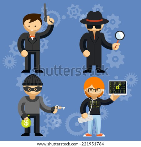 Set of colored cartoon vector characters involved in criminal activities with a man wielding a handgun  burglar  detective and hacker - stock vector