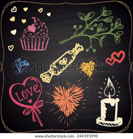 Set of colored chalk painted elements: hearts, candle, candies and plant. - stock vector