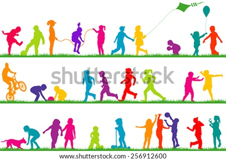 Set of colored children silhouettes playing outdoor - stock vector