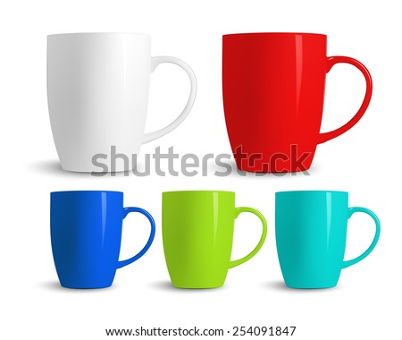 Set of colored cups isolated on white background. Vector