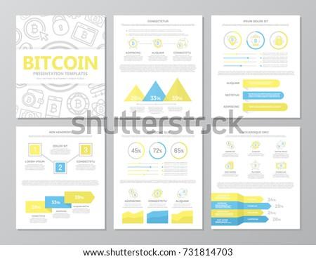 set colored digital money bitcoin elements stock vector 731814703, Presentation templates
