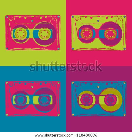 Set of colored disco cassettes with grungy contours. Vector image.
