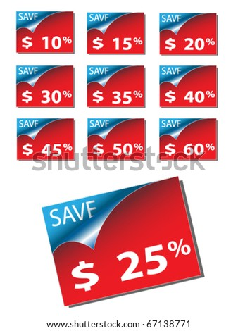 Set of colored discont labels,vector. - stock vector