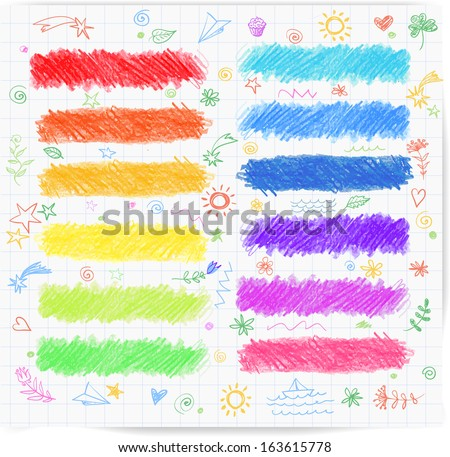 Set of colored doodle sketch banners. Hand-drawn with crayons. Vector illustration. - stock vector