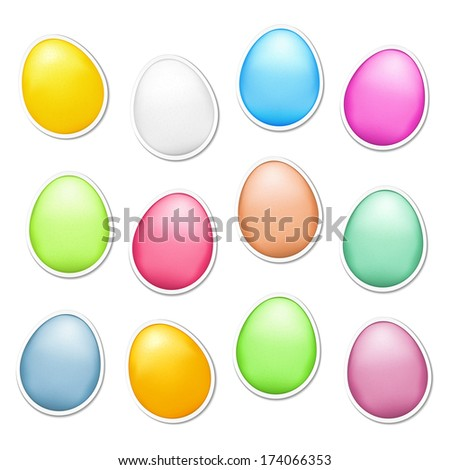 Set of colored easter eggs as stickers, vector eps10 illustration