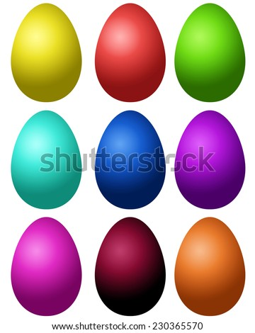 Set of colored Easter eggs on a white background - stock vector