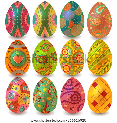 Set of colored Easter eggs on a white background. Easter eggs. Vector set - stock vector