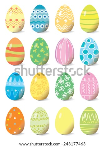 set of colored Easter eggs, vector illustration