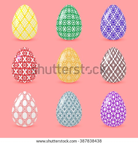 Set of colored Easter eggs with geometric patterns. Realistic objects with shadows isolated on a pink background. Vector illustration - stock vector