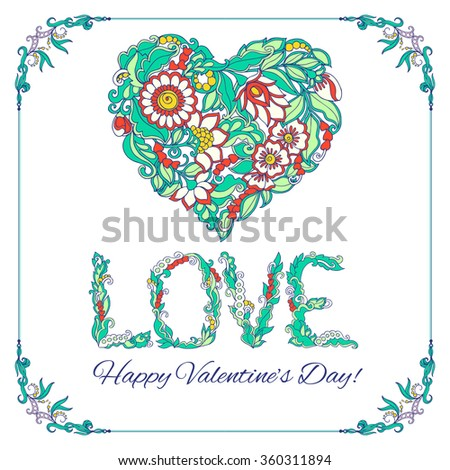Set of colored elements for Happy Valentine's day card. Love Heart, frame. Vector illustration. - stock vector