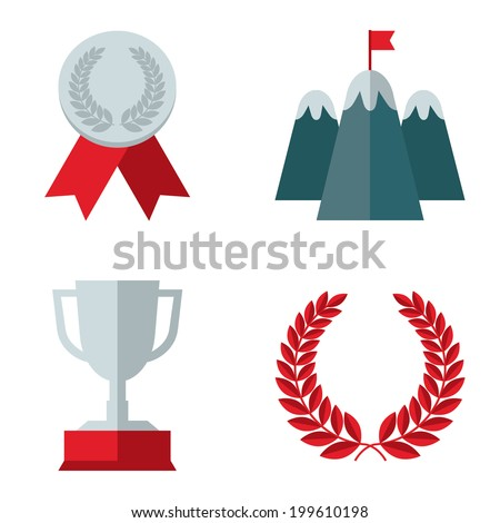 Set of colored flat design icons of medal, flag on mountain top, bowl, laurel wreath - concepts of success, win, leadership. Isolated on white background - stock vector