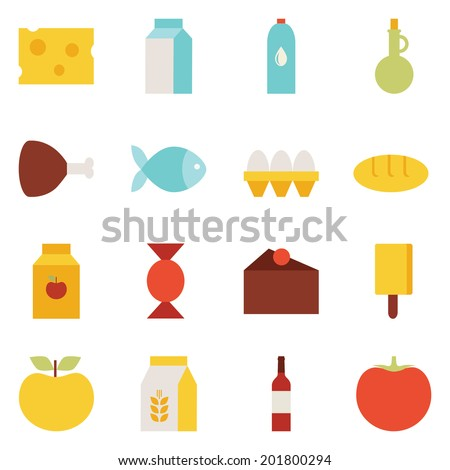 Set of colored flat design vector icons for food and drink: cheese, milk, water, oil, meat, fish, eggs, bread, juice, candy, cake, ice cream, apple, flour, wine, tomato. Isolated on white background - stock vector