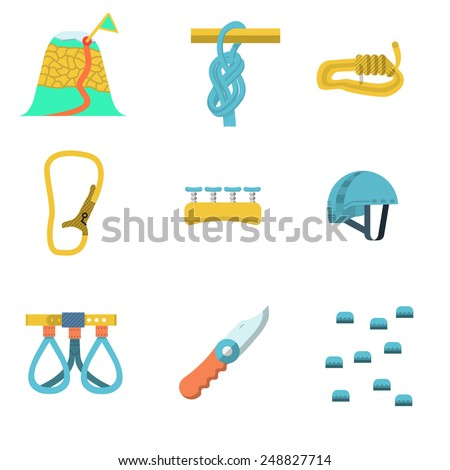 Set of colored flat vector icons for rock climbing or alpinism outfit and equipment on white  background.