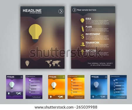 Set of colored flyers for advertising or marketing. Icons and text on the topic of business placed on a blurred background.