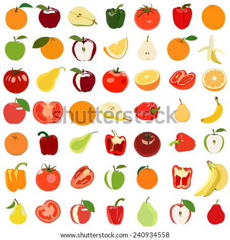 Set of colored fruits and vegetables. Vector illustration. Isolated on white - stock vector