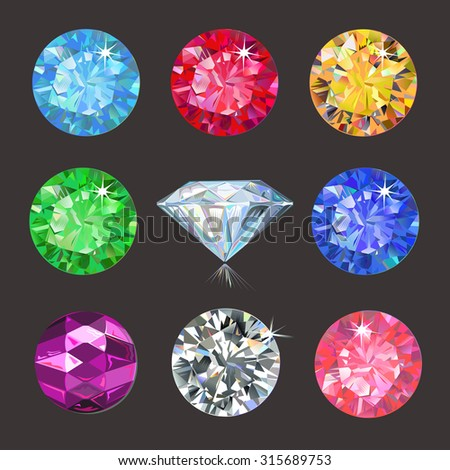 Set of colored gems isolated on dark background, vector illustration