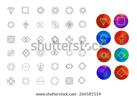 Set of colored geometric crystal circles in polygon style with geometric shapes. Abstract Geometric Patterns Set with Hipster Style Icons for Logo Design.  Geometric hipster retro background - stock vector