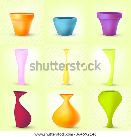 Set Colored Glass Vases Different Shapes Stock Vector Royalty Free