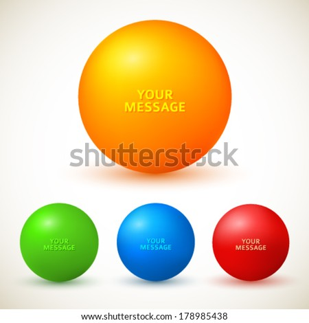 Set of colored glossy spheres with shadows isolated on white. Vector illustration EPS10. Design elements for your advertising flyer, presentation template, brochure layout page, cover book or magazine