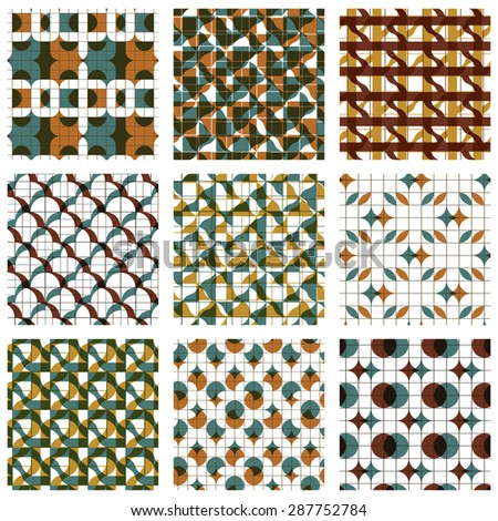 Set of colored grate seamless patterns with parallel lines, ribbons and geometric figures, transparent symmetric bright wavy tiles, infinite geometric surface textures, abstract tiling. - stock vector