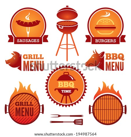 Set of colored grill and BBQ symbols and labels - stock vector