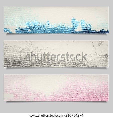 Set of colored grunge horizontal banners - stock vector