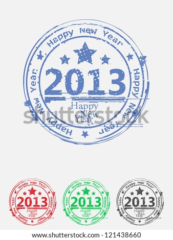 set of colored grunge stamps for 2013 - stock vector