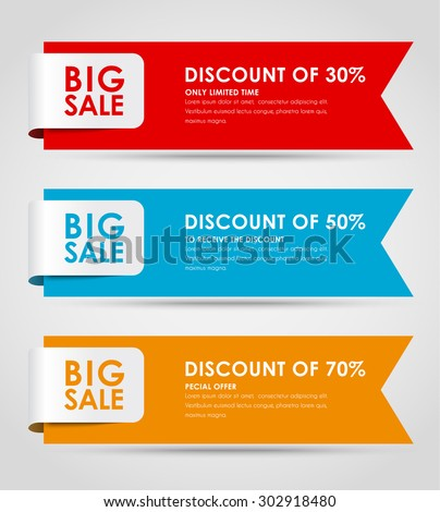 Set of colored horizontal banners for sale with a ribbon. Elements of infographics for posting information. Vector illustration - stock vector