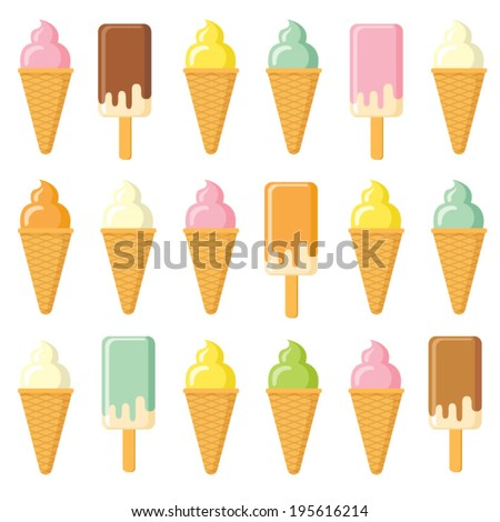 set of colored ice cream - stock vector