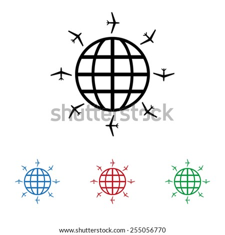 Set of colored icons. Black, blue, red, green.  Fashion Icon aircraft around the world, icon, vector illustration. Flat design style - stock vector