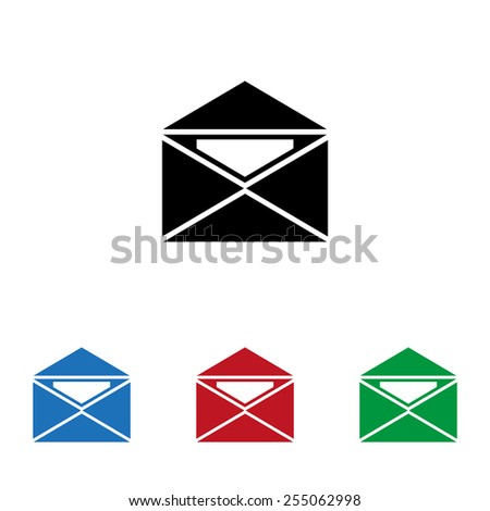 Set of colored icons. Black, blue, red, green.  open envelope with a letter, vector, EPS 10 - stock vector