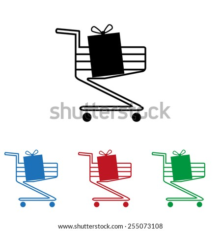 Set of colored icons. Black, blue, red, green.  put in shopping cart  , icon, vector illustration. Flat design style