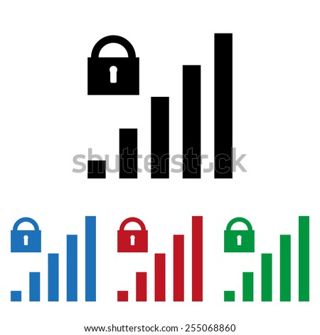 Set of colored icons. Black, blue, red, green.  signal strength indicator, closed access , vector illustration, EPS 10 - stock vector