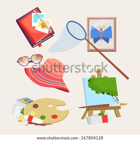 Set of colored icons for summer activities with a butterfly net, journal, straw sunhat, sunglasses, artists palette and easel with painting, vector design elements - stock vector