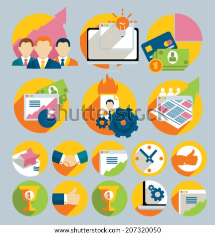 Set of colored icons for website and mobile application. Flat design. Vector. Editable. Business and Finance. - stock vector