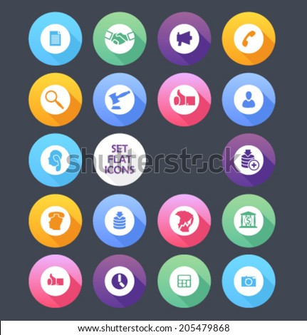 Set of colored icons for website and mobile application. Flat design. Vector. Editable. Finance. - stock vector