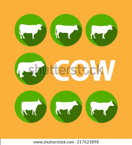 Set of colored icons for website and mobile application. Flat design. Vector. Editable. Pets and food. Cow. - stock vector