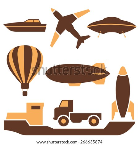 Set of colored icons transport, air and ground, vector illustration. - stock vector