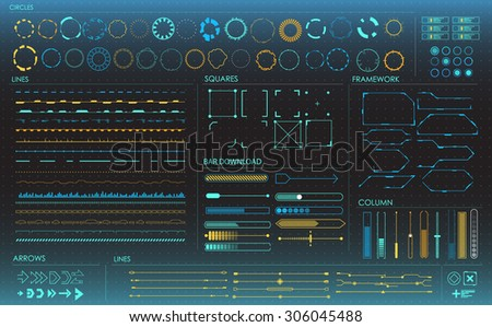 set of colored infographic elements. futuristic user interface HUD - stock vector