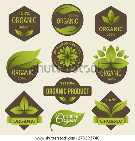 Set of colored labels for organic, natural, eco or bio products in bright green and dark brown colors