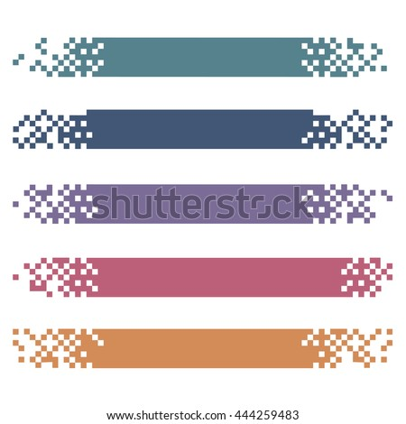 Set of colored modern pixel banners for headers. Vector banners ready for your text or design  - stock vector