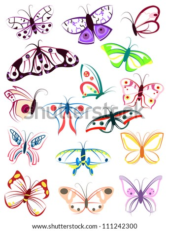 Set of colored outlines  of butterflies on a white background - stock vector