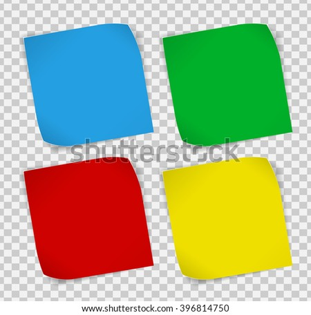 Set of colored paper curled stickers with shadows over transparent background. Vector EPS10. - stock vector