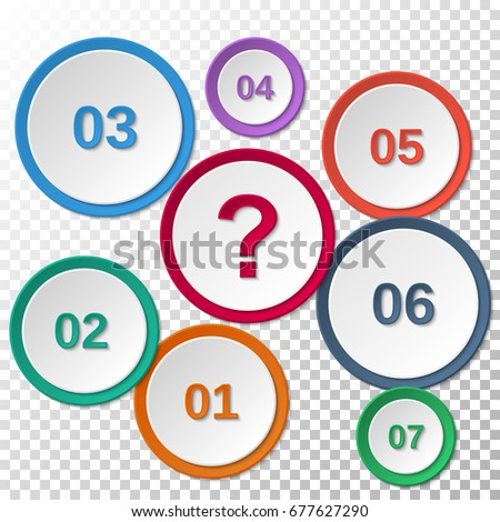 Set Colored Paper Templates Numbers Question Stock Vector 677627290 ...