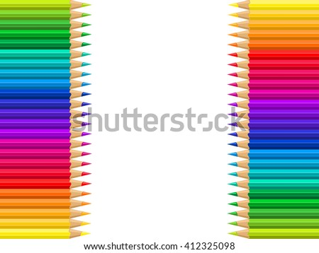 Set of colored pencils on a white background. Vector illustration